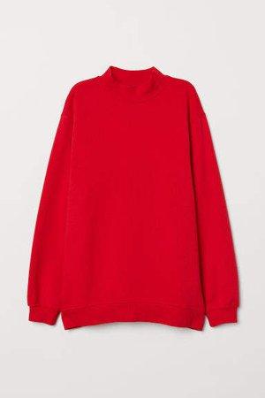 Mock-turtleneck Sweatshirt - Red