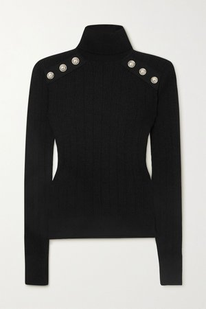 Black Button-embellished ribbed-knit turtleneck sweater | Balmain | NET-A-PORTER