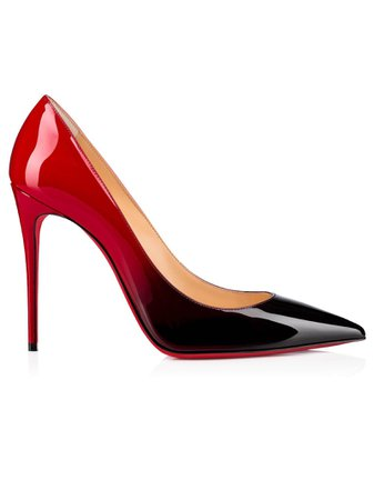 Christian Louboutin Black - Red Degrade Patent Kate 100 Pumps