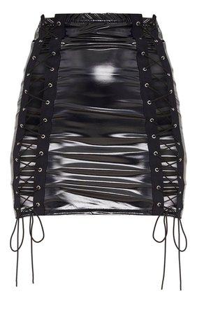 Black Vinyl Double Lace Up Mini Skirt | PrettyLittleThing USA
