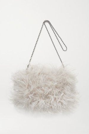 Zelda Feather Shoulder Bag - Off-white