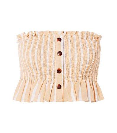 Sloan Shirred Striped Linen Top