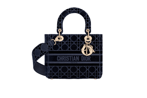 MEDIUM LADY D-LITE BAG Blue Cannage Embroidered Velvet