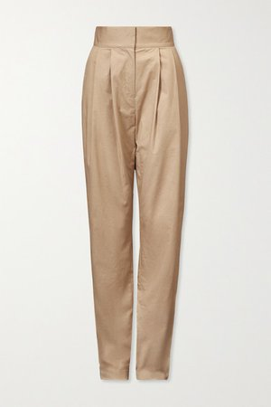 Lourdes Stretch-cotton Twill Tapered Pants - Beige