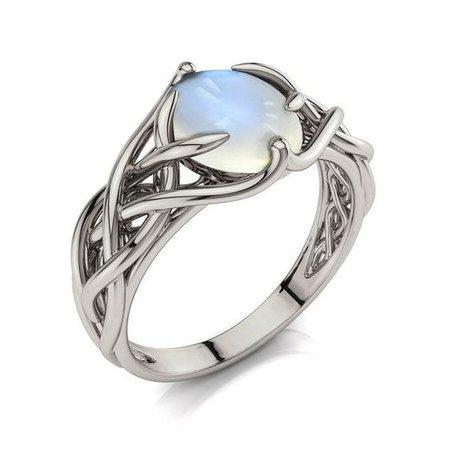 silver Celtic moonstone ring