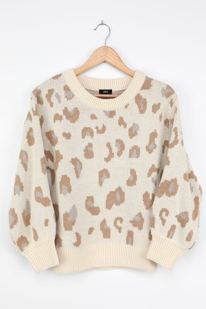 Lucca Couture Animal Sweater - Leopard Sweater - Ivory Sweater - Lulus