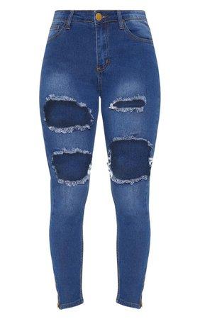 Dirty Vintage Extreme Rip 5 Pocket Skinny Jean | PrettyLittleThing