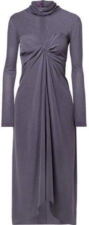 Sies Marjan - Frances Twist-front Washed-silk And Tulle Turtleneck Midi Dress - Purple