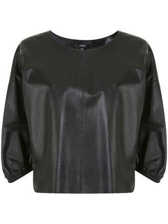 Shop black Arma puff-sleeve leather blouse with Express Delivery - Farfetch