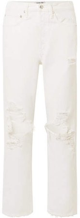 AGOLDE - '90s Distressed Mid-rise Straight-leg Jeans - White