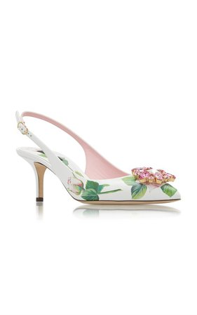 Crystal-Embellished Floral-Print Leather Slingback Pumps by Dolce & Gabbana | Moda Operandi