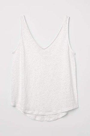 Linen Jersey Tank Top - White