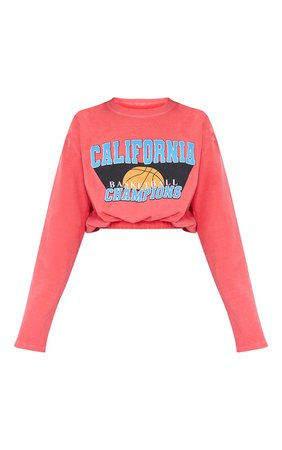 Red California Basketball Elasticated Waist Wash | PrettyLittleThing USA
