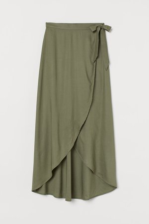 Wrap-front Skirt - Khaki green - Ladies   H&M US