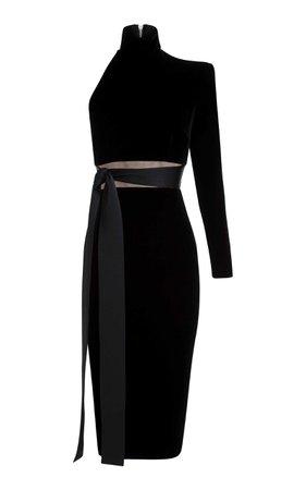 Alex Perry Astrid Velvet One Sleeve Cocktail Dress