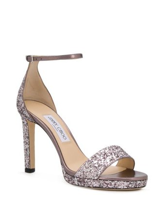 Jimmy Choo Misty 100mm Glitter Sandals