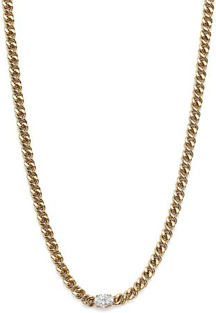 Wrap Party Cubic Zirconia Curb Chain Necklace