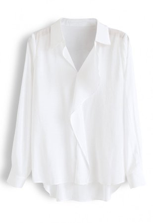 Hi-Lo Hem V-Neck Ruffle Front Shirt in White - NEW ARRIVALS - Retro, Indie and Unique Fashion