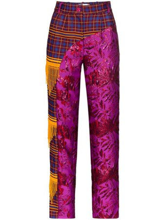 Shuting Qiu Panelled Floral Jacquard Trousers Aw19 | Farfetch.Com
