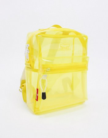 Levi's clear neon backpack in clear yellow | ASOS