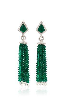 Emerald And Diamond Tassel Earrings by Busatti | Moda Operandi