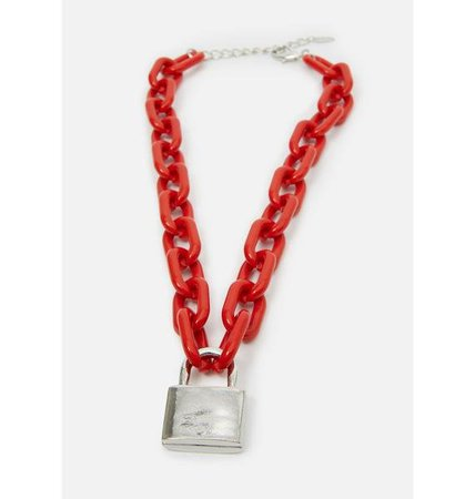 Chunky Lock Carabiner Chain Necklace Set - Red | Dolls Kill