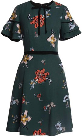 Emily Lovelock - Signature Print Dress With Lace Detail