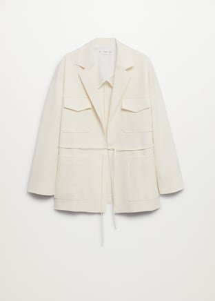 Linen blazer with pockets - Women   Mango USA