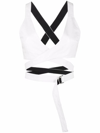 Manokhi Megan leather cropped top white AW21MANO300A240MEGANWHITE - Farfetch