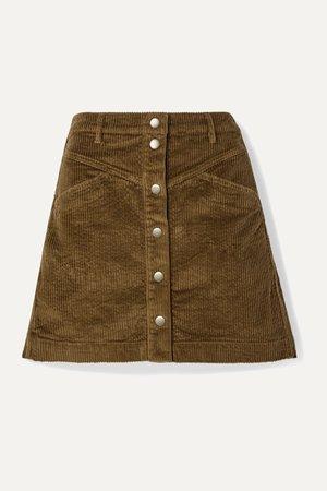 Dark green Cotton-blend corduroy mini skirt   Madewell   NET-A-PORTER