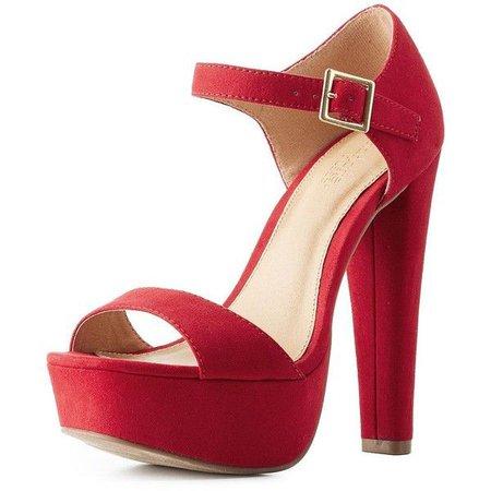 Red Peep Toe Platform Sandal Heels