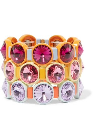 Roxanne Assoulin | Technicolor set of three enamel and Swarovski crystal bracelets | NET-A-PORTER.COM
