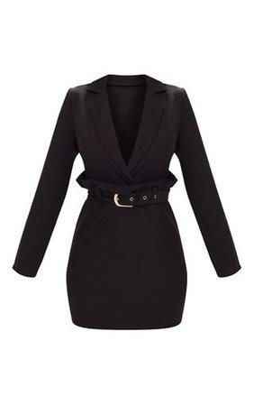 Black Frill Waist Belted Blazer Dress   PrettyLittleThing