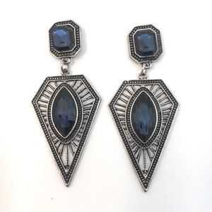 Cherryl's Jewelry | Navy Blue Crystal Geometric Dangle Earrings | Poshmark