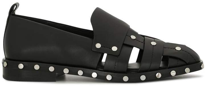 Alexa woven studded loafers