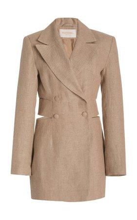 Cutout Linen Mini Blazer Dress By Matériel   Moda Operandi