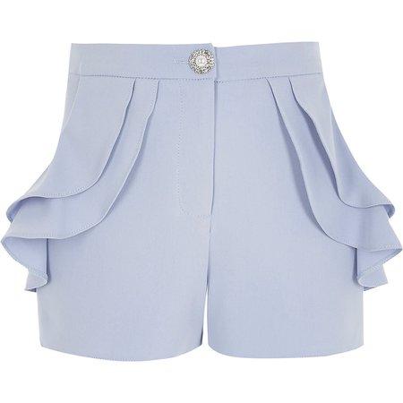 Girls blue frill pocket shorts | River Island