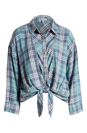 Wit & Wisdom Plaid Tie Front Blouse (Nordstrom Exclusive) | Nordstrom
