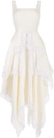 Lace-Trim Draped Dress