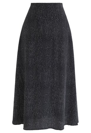 A-Line Polka Dots Chiffon Skirt in Black - Retro, Indie and Unique Fashion