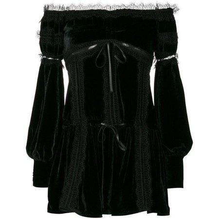 Wandering velvet empire mini dress ($1,036) ❤ liked on Polyvore featuring dresses, black, mini dress, velvet mini dress, velvet dr… | Short dresses, Dresses, Off shoulder dresses