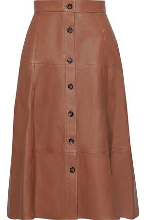 Tan Tianna leather midi skirt | IRIS & INK