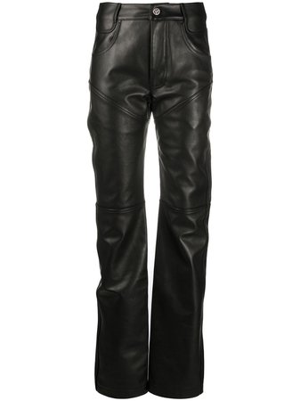 Shop black Telfar straight-leg leather trousers with Express Delivery - Farfetch