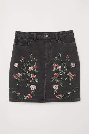 Denim Skirt with Embroidery - Black