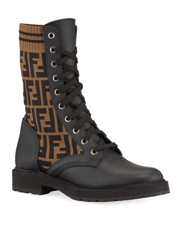 Fendi Leather and FF Combat Boots | Neiman Marcus