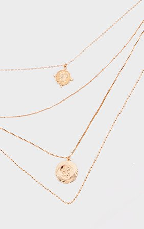 Gold Roman Coin Charm Layering Necklace | PrettyLittleThing USA