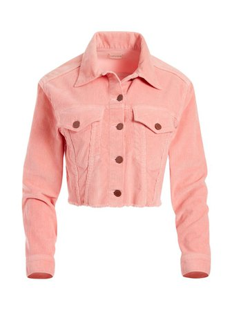 KENDALL CROPPED CORDUROY JACKET in ROSE   Alice and Olivia