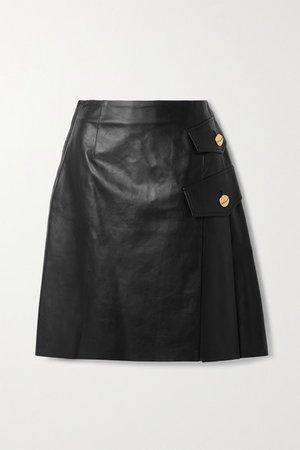 Pleated Leather Skirt - Black