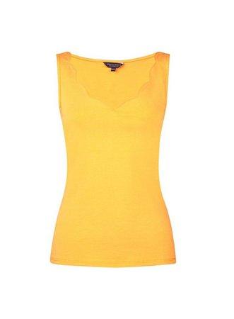 Yellow Sleeveless Scallop Neck Vest   Dorothy Perkins