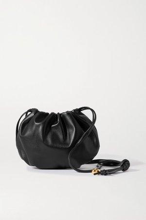 The Mini Bulb Gathered Leather Shoulder Bag - Black